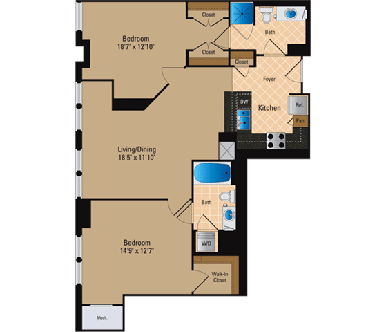 Floor Plan  2 Bedroom, 2 Bath 1082 SF B5