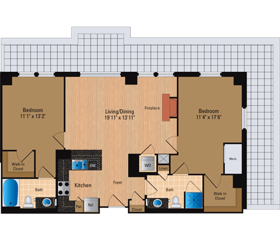 Floor Plan  2 Bedroom, 2 Bath 1114 SF B6P1