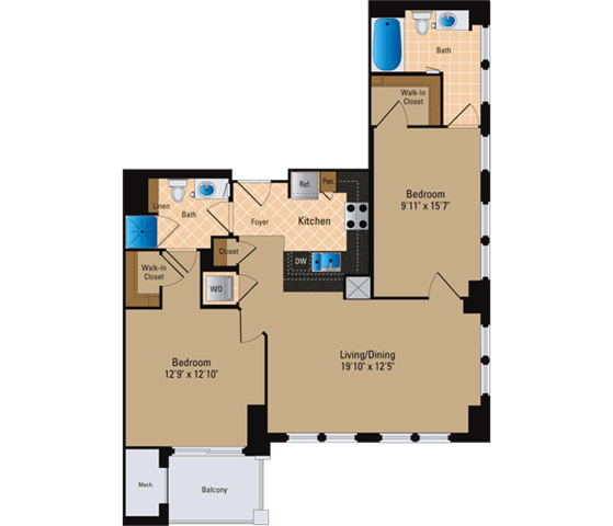 Floor Plan  2 Bedroom, 2 Bath 1090 SF B9
