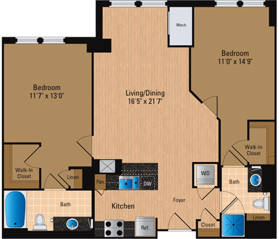 Floor Plan  2 Bedroom, 2 Bath 1070 SF B9P1