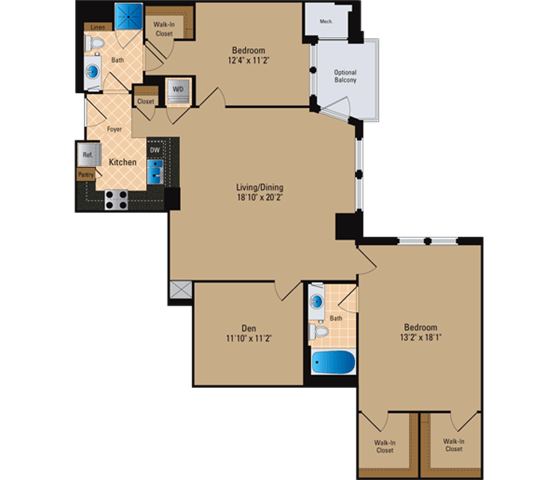 Floor Plan  2 Bedroom + Den, 2 Bath 1429 SF BD9