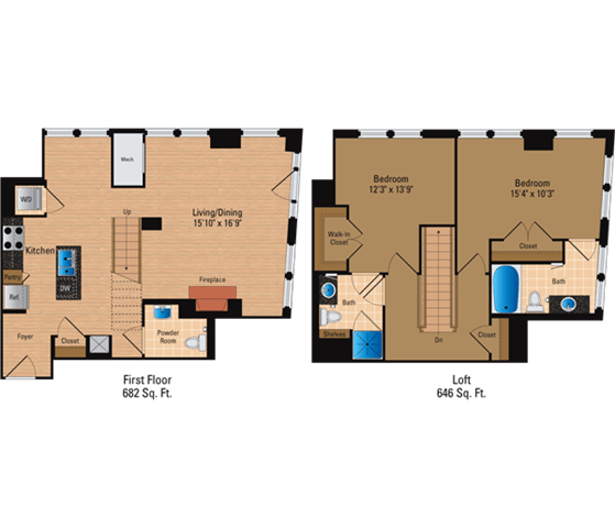 Floor Plan  2 Bedroom + Loft, 2 Bath 1328 SF BL3