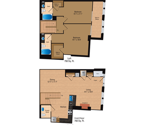 Floor Plan  2 Bedroom + Loft, 2 Bath 1543 SF BL6