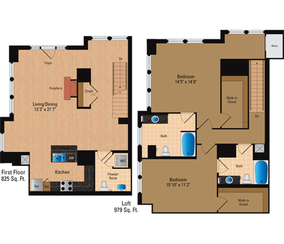 Floor Plan  2 Bedroom + Loft, 2 Bath 1804 SF BL8