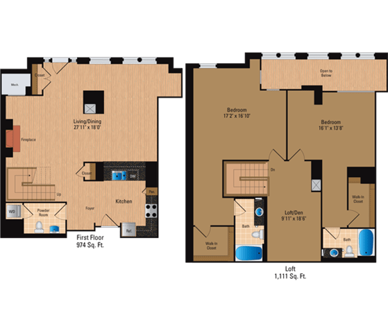 Floor Plan  2 Bedroom + Loft, 2 Bath 2085 SF BL9