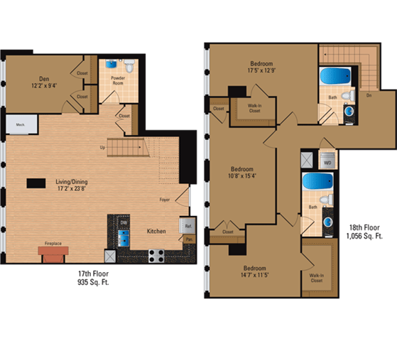 Floor Plan  3 Bedroom, 3 Bath Penthouse 1991 SF CDP1