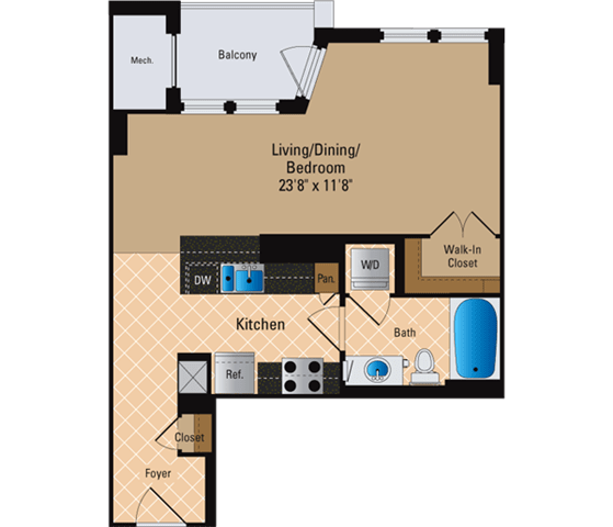 Floor Plan  Studio, 1 Bath 561 SF S1
