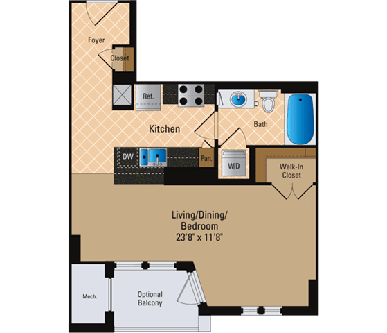 Floor Plan  Studio, 1 Bath 564 SF S2