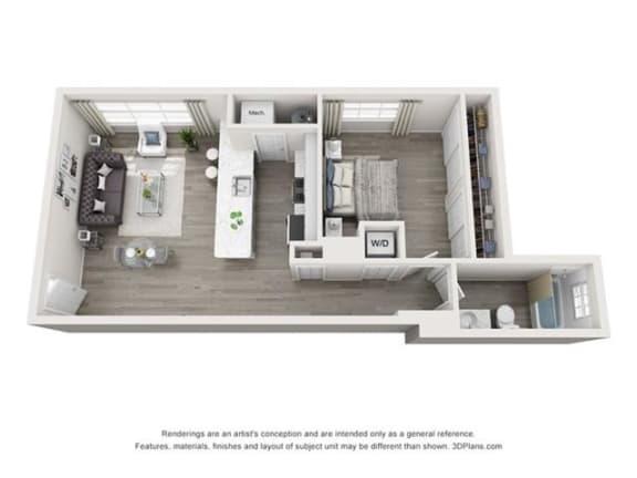 Floor Plan  1 Bedroom, 1 Bath 594 SF 11a