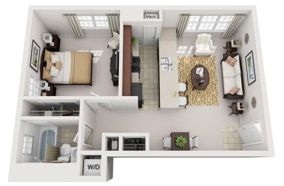 Floor Plan  1 Bedroom, 1 Bath 640 SF 11