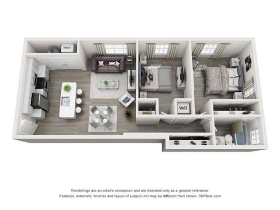 Floor Plan  2 Bedroom, 1 Bath 818 SF 21a