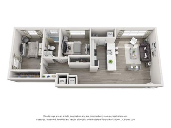 Floor Plan  2 Bedroom, 1 Bath 829 SF 21b