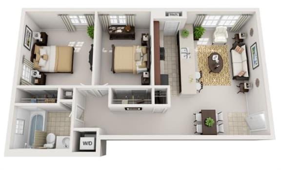 Floor Plan  2 Bedroom, 2 Bath 787 SF 21