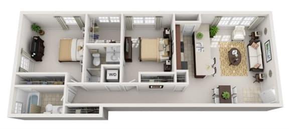 Floor Plan  2 Bedroom, 2 Bath 972 SF 22