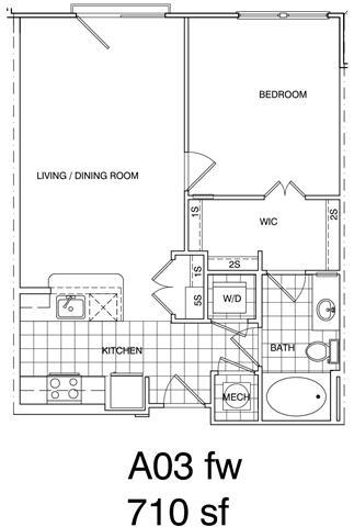 Floor Plan  1 Bedroom, 1 Bath 718 SF A3.1
