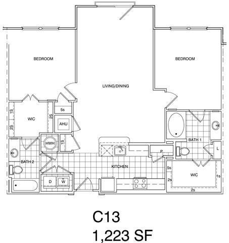 Floor Plan  2 Bedroom, 2 Bath 1225 SF C13