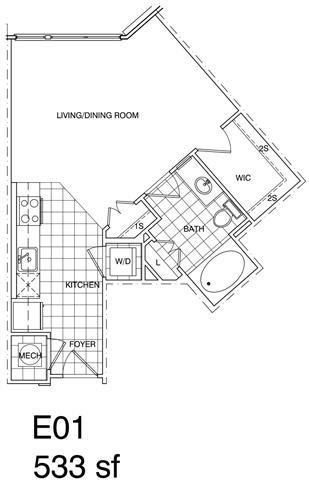 Floor Plan  Studio 534 SF E1