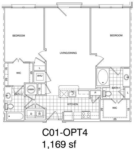 Floor Plan  2 Bedroom, 2 Bath 1170 SF KC1.3