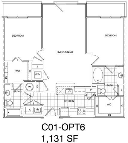 Floor Plan  2 Bedroom, 2 Bath 1131 SF KC1.8