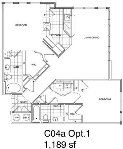 Floor Plan  2 Bedroom, 2 Bath 1189 SF KC4.1