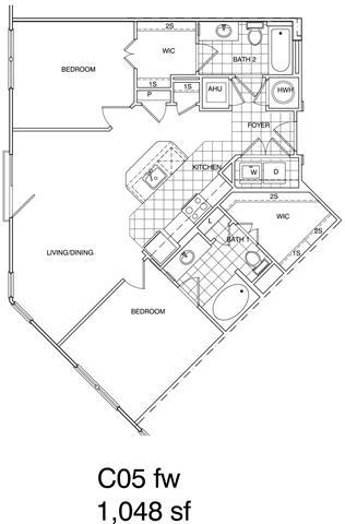 Floor Plan  2 Bedroom, 2 Bath 1048 SF KC5.1