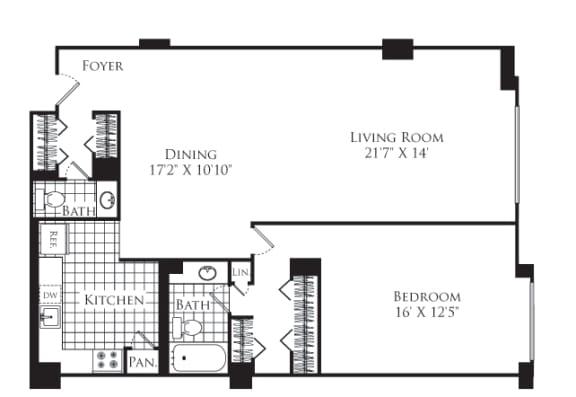 Floor Plan  1 Bed, 1.5 Bath 1057 SF A1