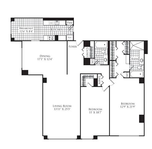 Floor Plan  2 Bed, 2 Bath 1700 SF B1