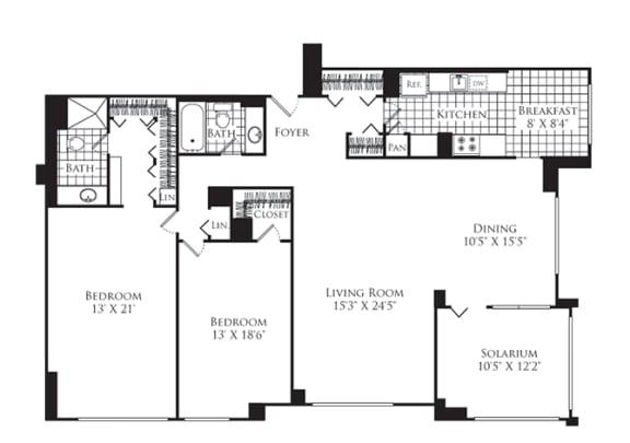Floor Plan  2 Bed, 2 Bath 1700 SF B2