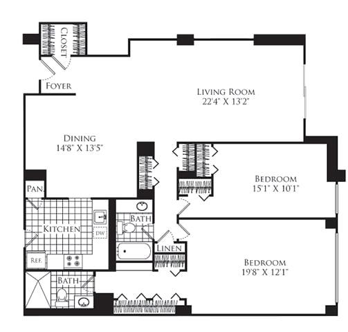 Floor Plan  2 Bed, 2 Bath 1300 SF B3