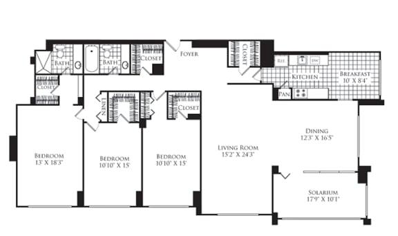 Floor Plan  3 Bed, 2 Bath 2024 SF C1