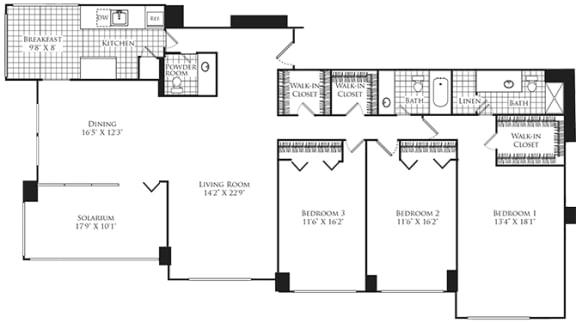 Floor Plan  3 Bed, 2 Bath 2040 SF C2