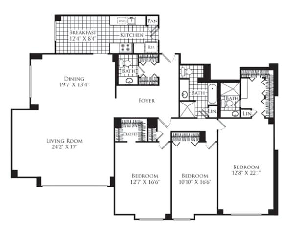 Floor Plan  3 Bed, 2 Bath 2040 SF C3