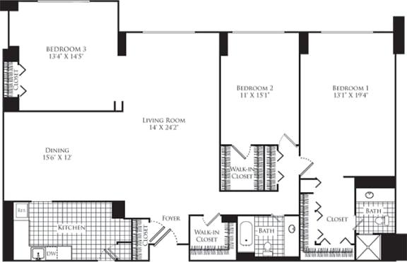 Floor Plan  3 Bed, 2 Bath 1700 SF C5