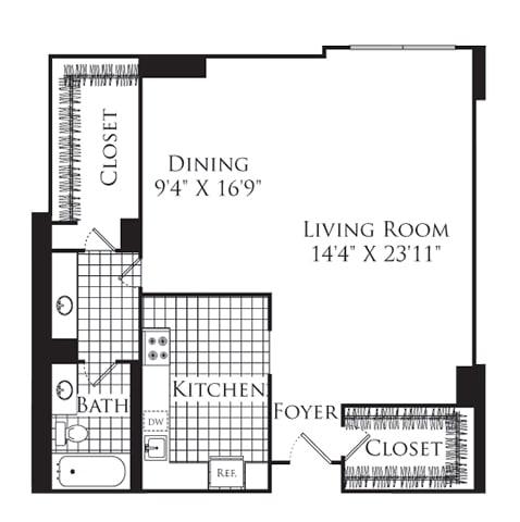Floor Plan  Studio, 1 Bath 893 SF S3