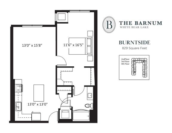 Burntside Floor Plan at The Barnum, Minnesota, 55110