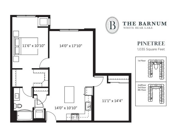Pinetree Floor Plan at The Barnum, Minnesota, 55110
