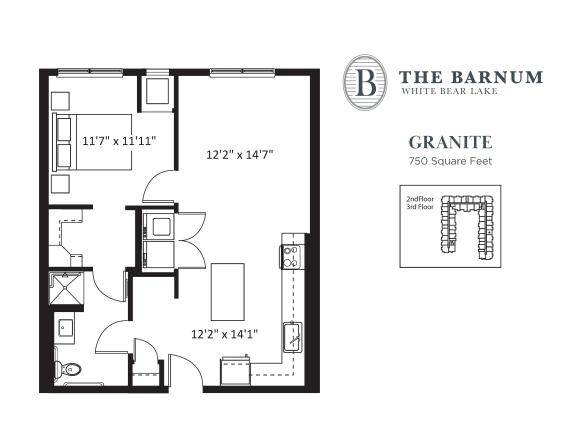 Granite Floor Plan at The Barnum, Minnesota, 55110