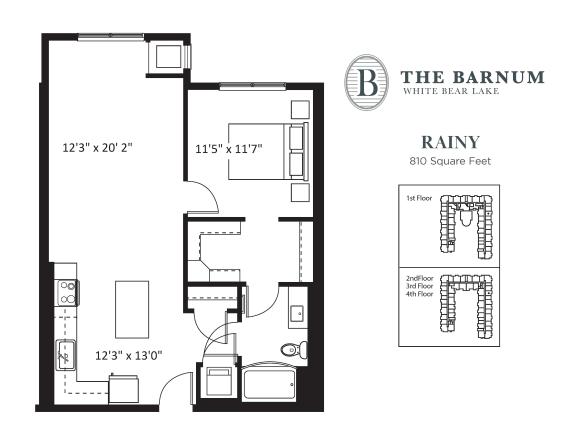 Rainy Floor Plan at The Barnum, Minnesota