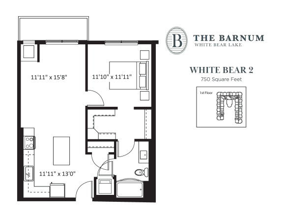 White Bear Floor Plan at The Barnum, White Bear Lake, 55110