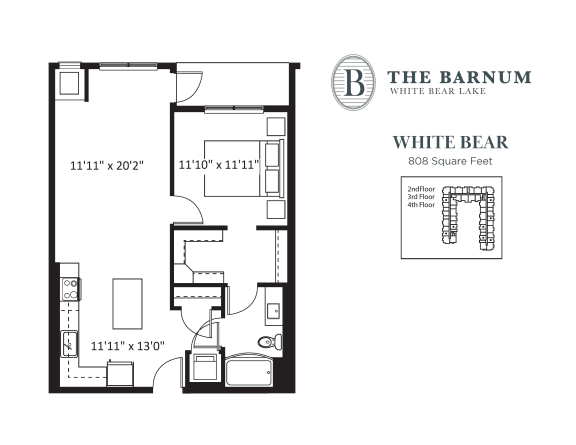 White Bear Floor Plan at The Barnum, White Bear Lake, MN, 55110