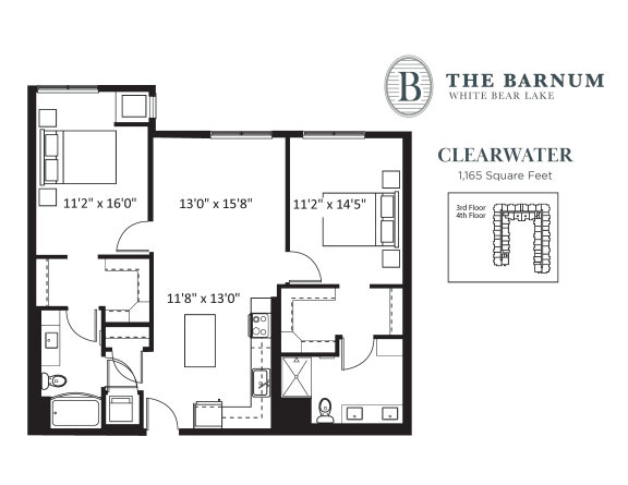 Clearwater Floor Plan at The Barnum, White Bear Lake, MN