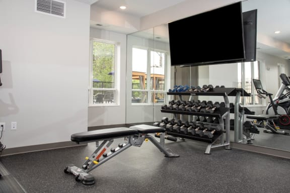 fitness room with weights