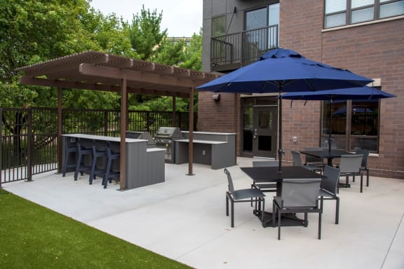 UPII outdoor patio with grilling stations and seating