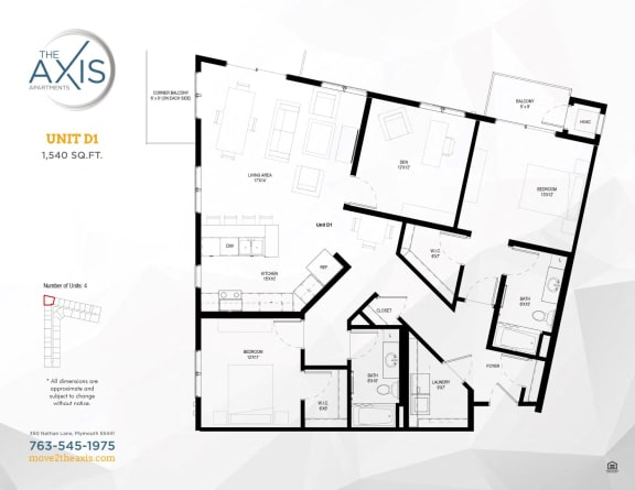 Unit D1 Floorplan at The Axis