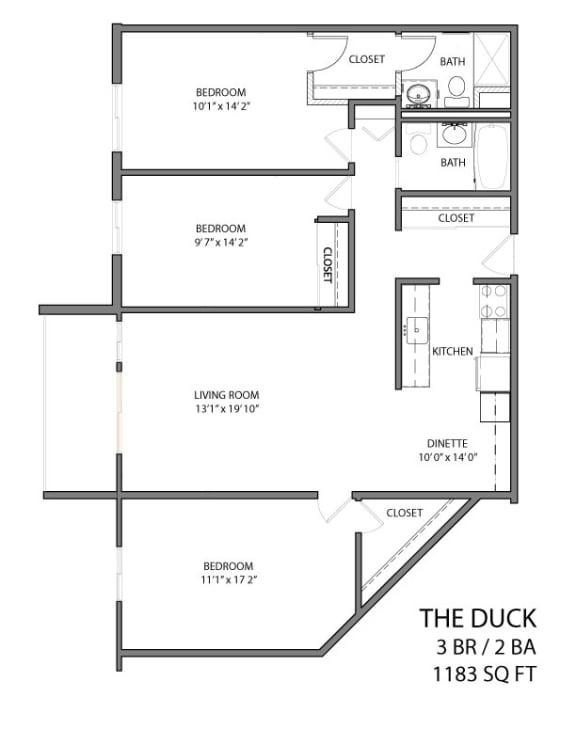 Floor Plan  The duck floor plan layout with 3 bedrooms and 2 bathrooms