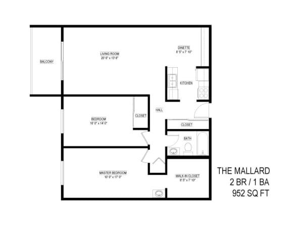 Floor Plan  The Mallard 2 bedroom floor plan layout