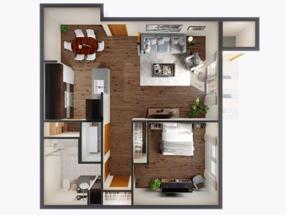 1 Bed 1 Bath Floor Plan at Panorama, Washington, 98065
