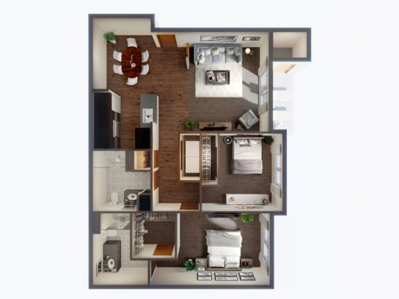 2 Bedroom 2 Bathroom Floor Plan at Panorama, Snoqualmie, WA, 98065