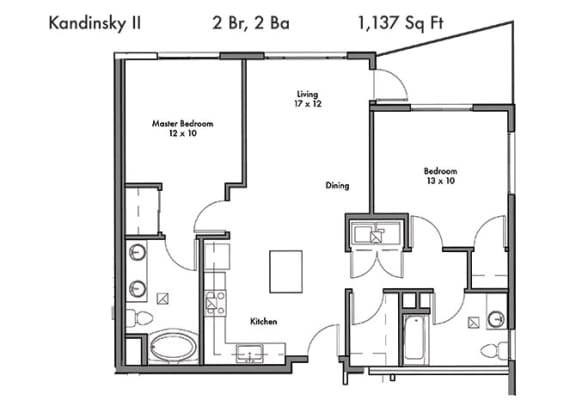 Two bedroom Two bathroom Floor Plan at Discovery West, Issaquah, WA, 98029