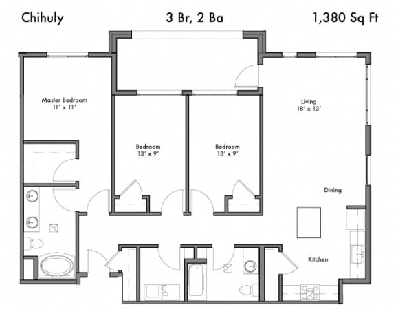 3 bedroom 2 bath Floor Plan at Discovery West, Washington